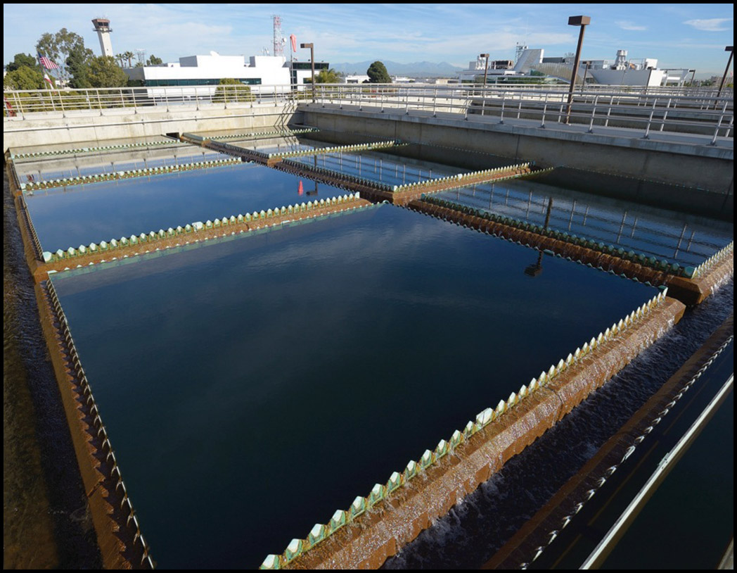 The City of Long Beach's groundwater treatment plant. Water from ground wells is treated and filtered, then mixed with imported water and sent to storage facilities.