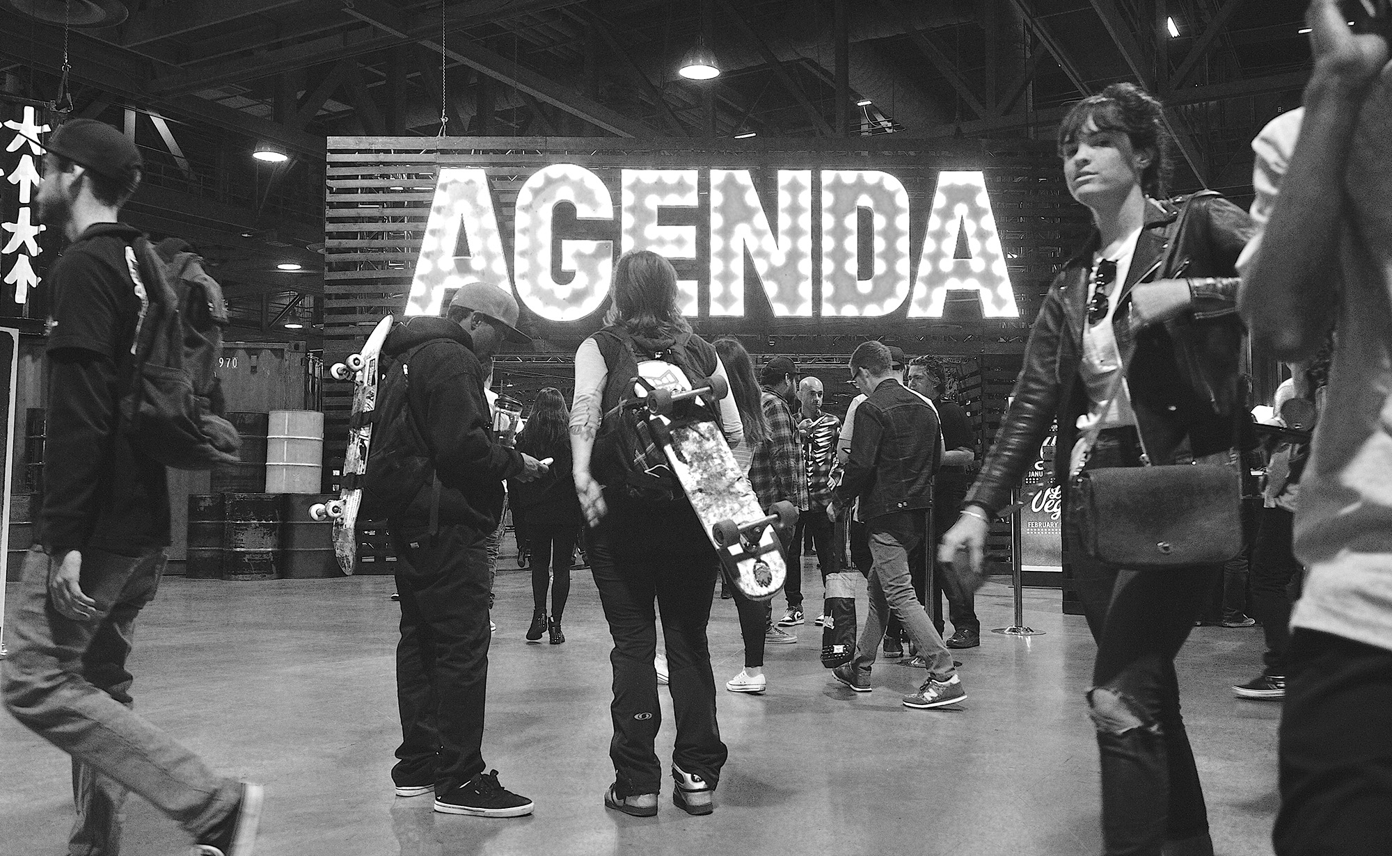 Entrance to the Agenda trade show in Long Beach on Monday.