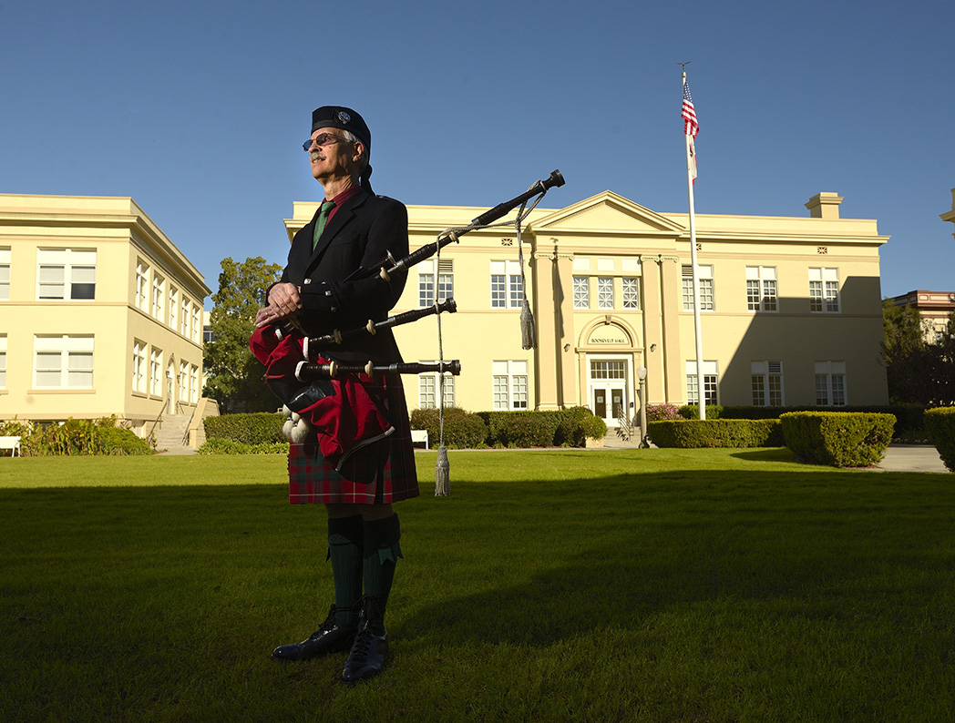 Bagpiper Robert Hackney at Chapman University on Tuesday. Hackney is the go-to bagpiper for all of Chapman's formal events.